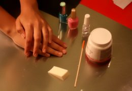 Step 1 What you will need. Freshly manicured nails, colors of choice, triangle sponger applicator, wooden cuticle pusher and nail polish remover.