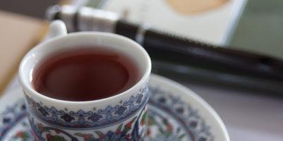 herbal tea and notebook