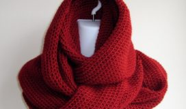 SAMANTHA- Scrolling Infinity Scarf In Solid Red