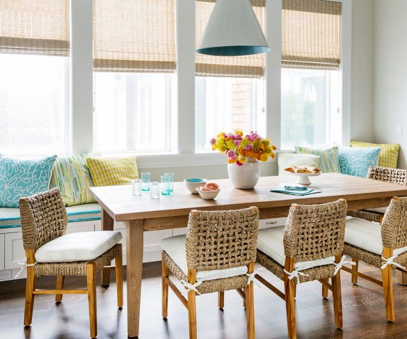 drawn dining room blinds to cool off
