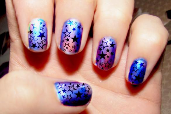 Purple Hologram Star Nail Art