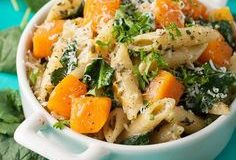 If you like pesto then you'll love this Pesto Penne with Roasted Butternut Squash and Kale. Healthy and delicious!