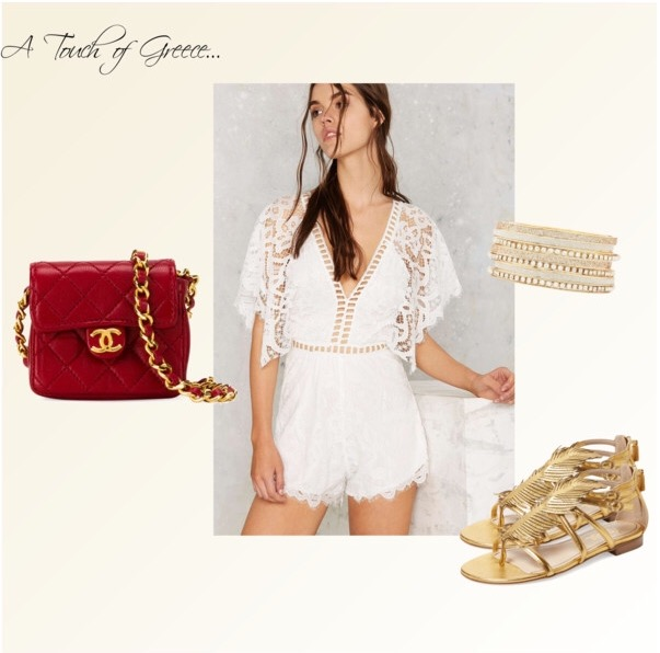 Pair a loose romper with some cute gold sandals for a Greek-inspired summer look.