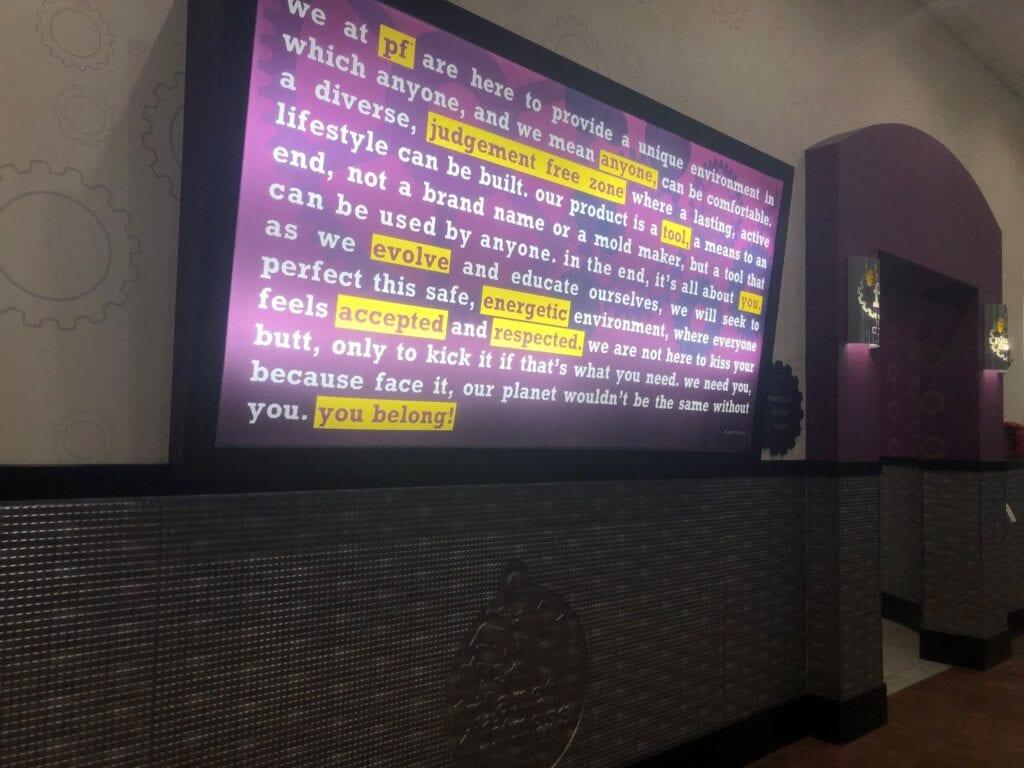 TV screen in a hallway