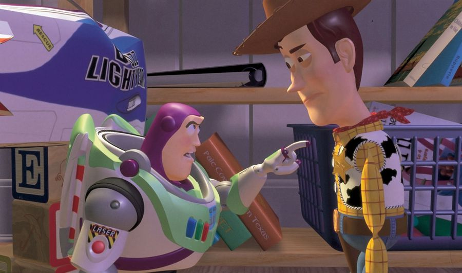 Tension between Woody and Buzz arises immediately