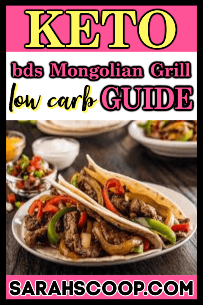 Pinterest image bd's Mongolian Grill keto low carb guide