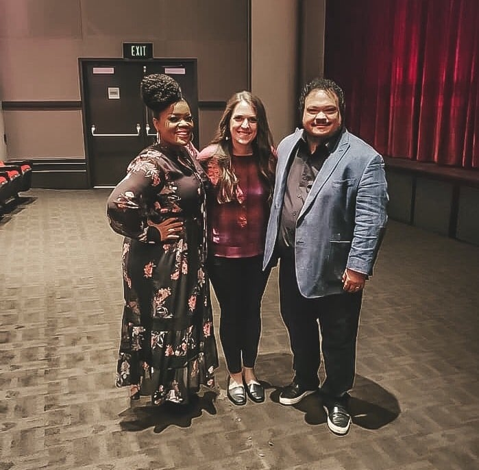 Author Sarah Ruhlman with Yvette Nicole Brown and Adrian Martinez from Lady and the Tramp