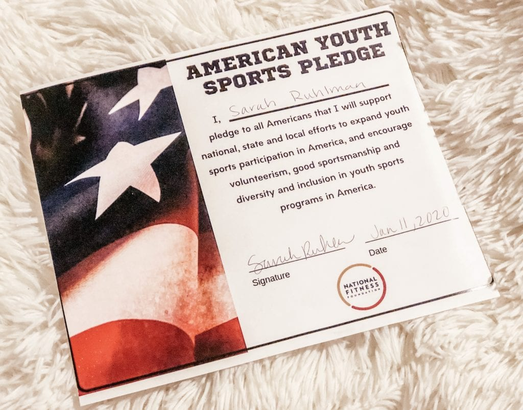 American Youth Sports Pledge certificate