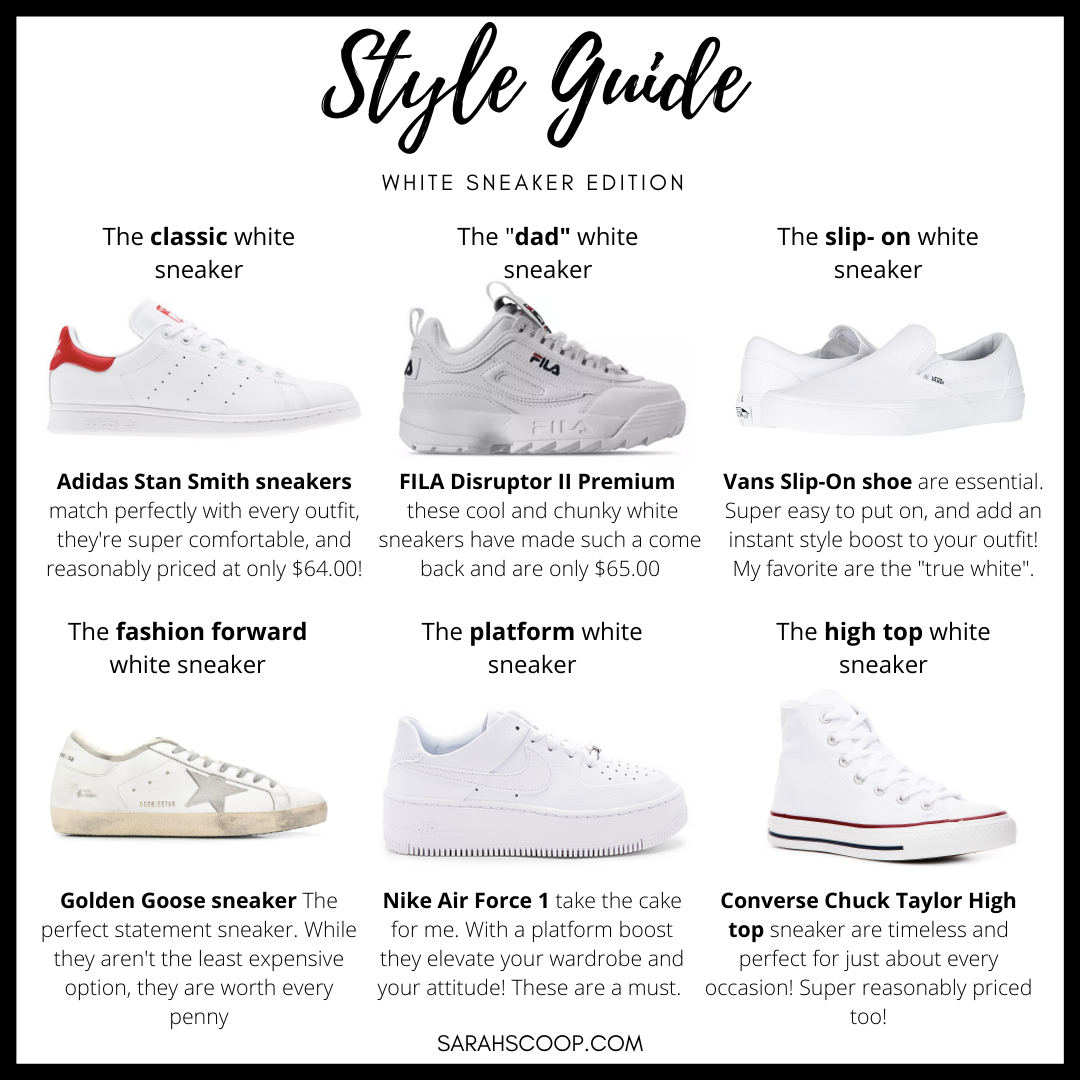 Style Guide: White Sneakers | Sarah Scoop
