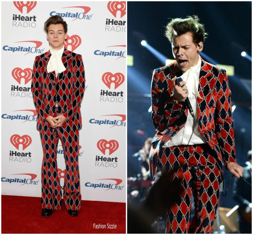 Harry Styles black and red patterned suit