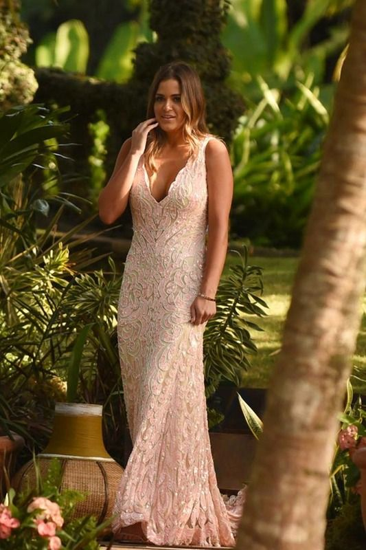 Jojo in a soft pink Max Duggal Bachelor dress