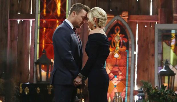 Whitney in black off the shoulder Bachelor finale dress