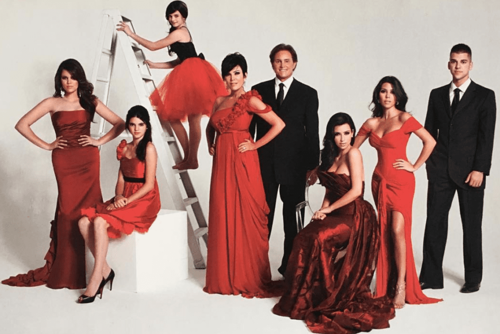 A staged picture of the Kardashian family