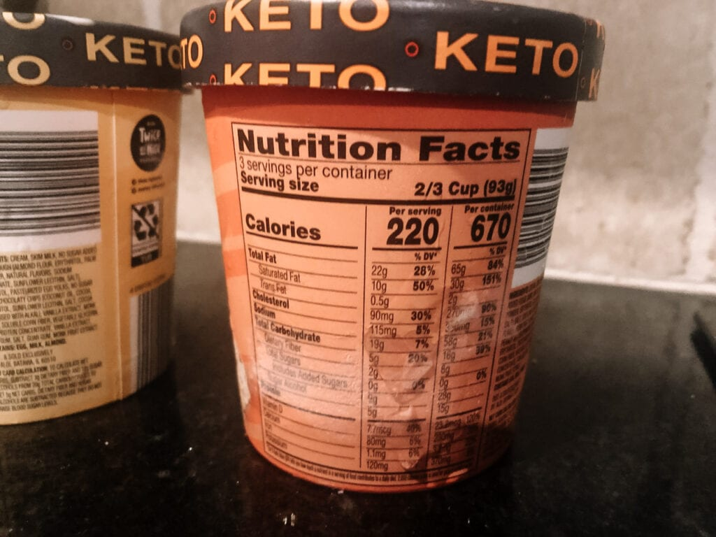 KETO ice cream nutrition label