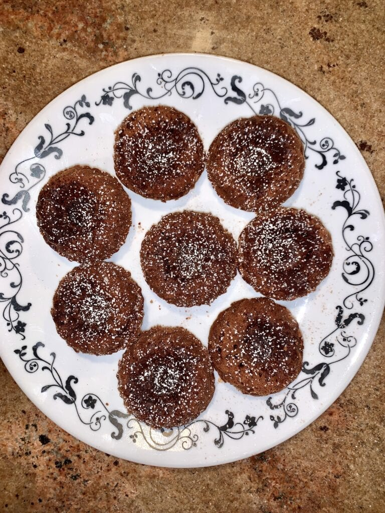 Mini chocolate bundt cakes with powdered sugar