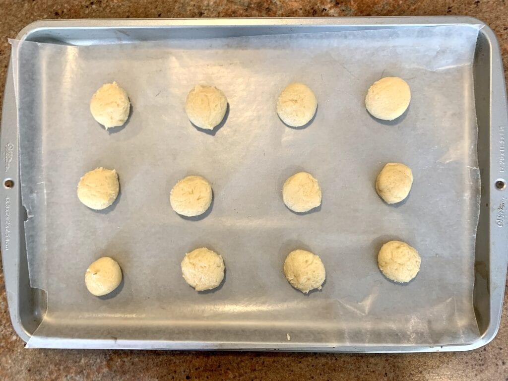Pan of cookie dough balls