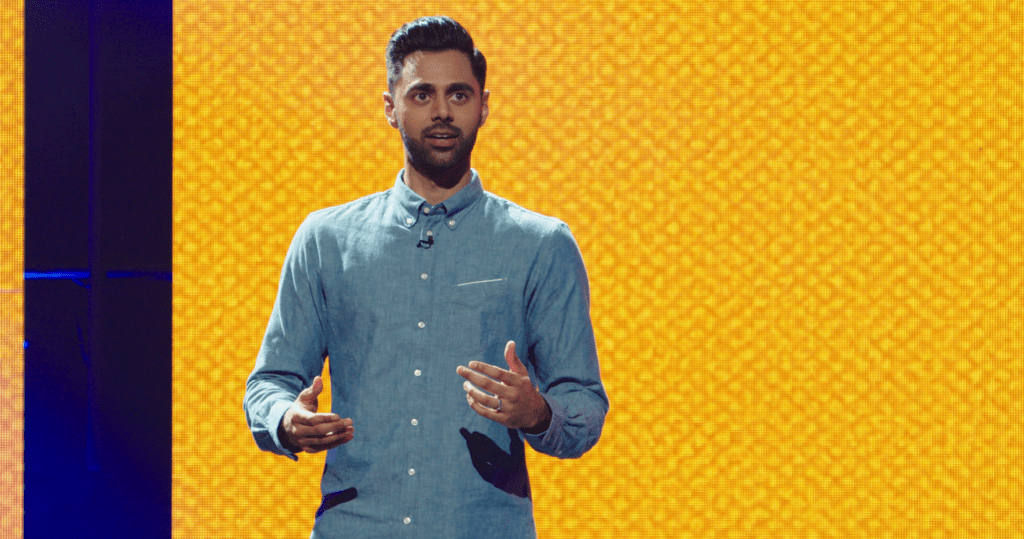 Hasan Minhaj in his comedy special, Homecoming King