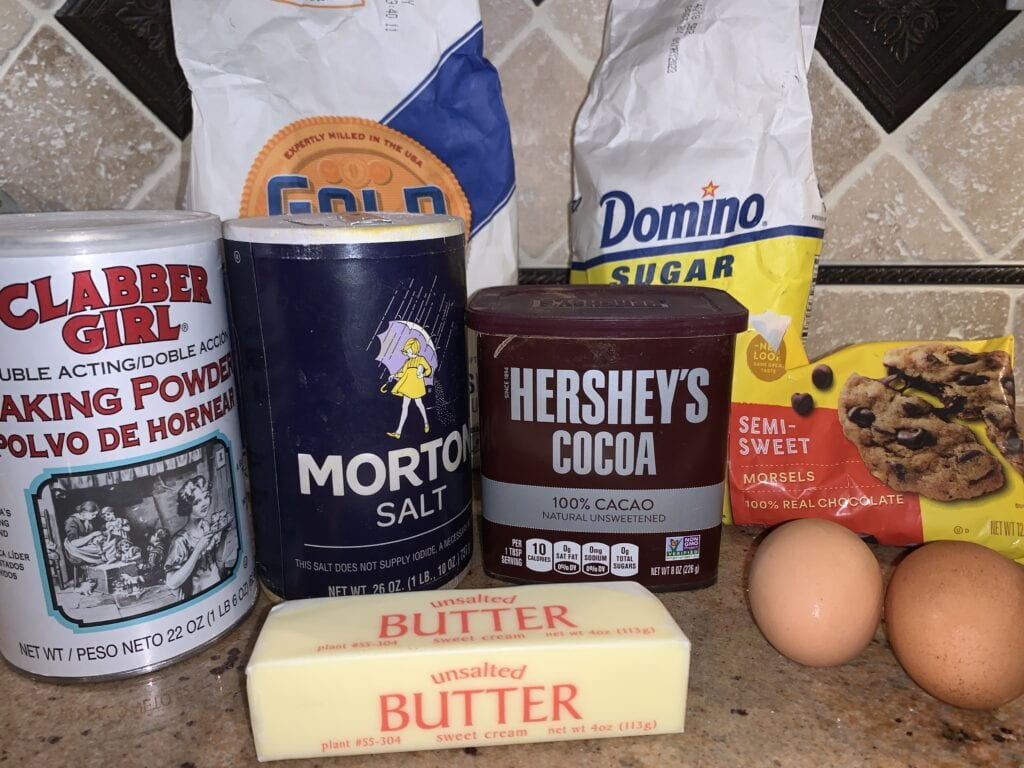 Chocolate chip muffin ingredients
