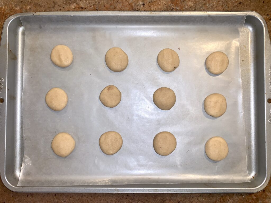 Cookie pan with cookie dough