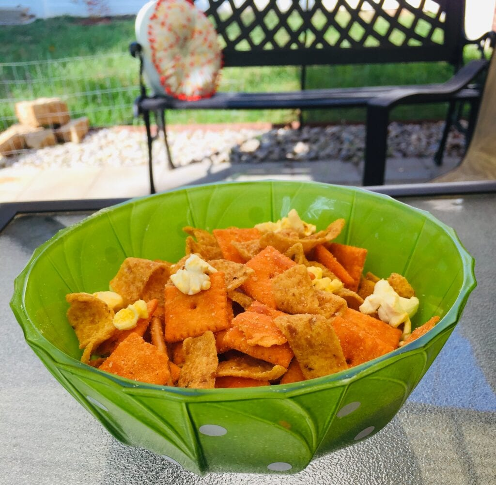 bowl of salty snack mix