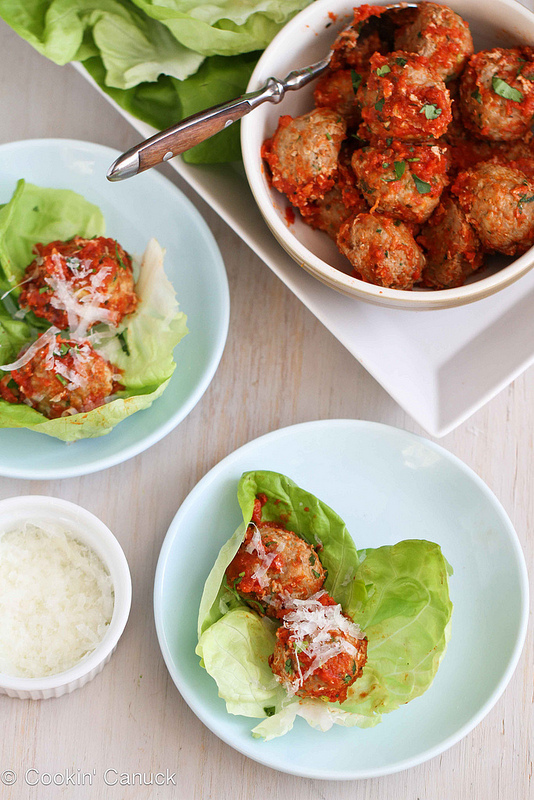 Baked Turkey, Quinoa, and Zucchini Meatballs in Lettuce Wraps