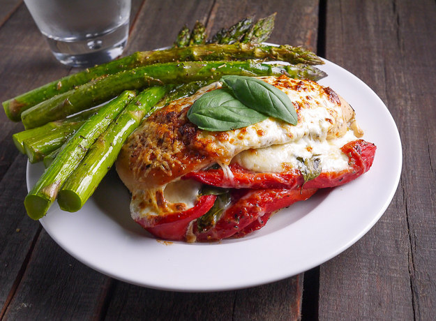 Capsicum and Basil Stuffed Chicken