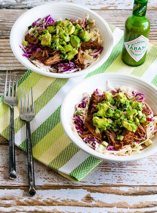 Green Chile Shredded Beef Cabbage Bowl with Avocado Salsa