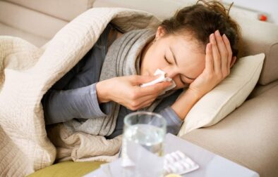 Woman sick with the flu