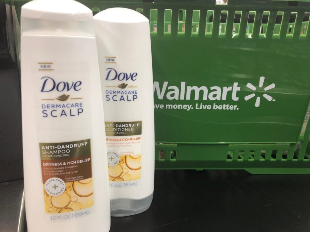 Dove Dermacare Anti-Dandruff shampoo and conditioner bottles at Walmart