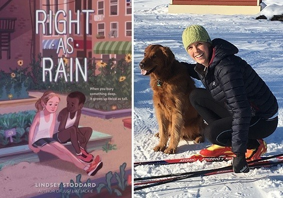 Picture of Lindsey Stoddard next to picture of Right As Rain book cover