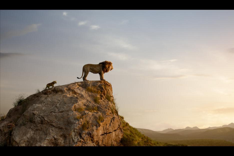 Simba and Mufasa looking at their kingdom