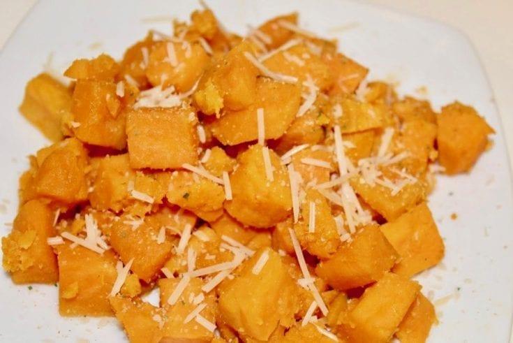 Air Fryer Garlic Parmesan Sweet Potato Cubes