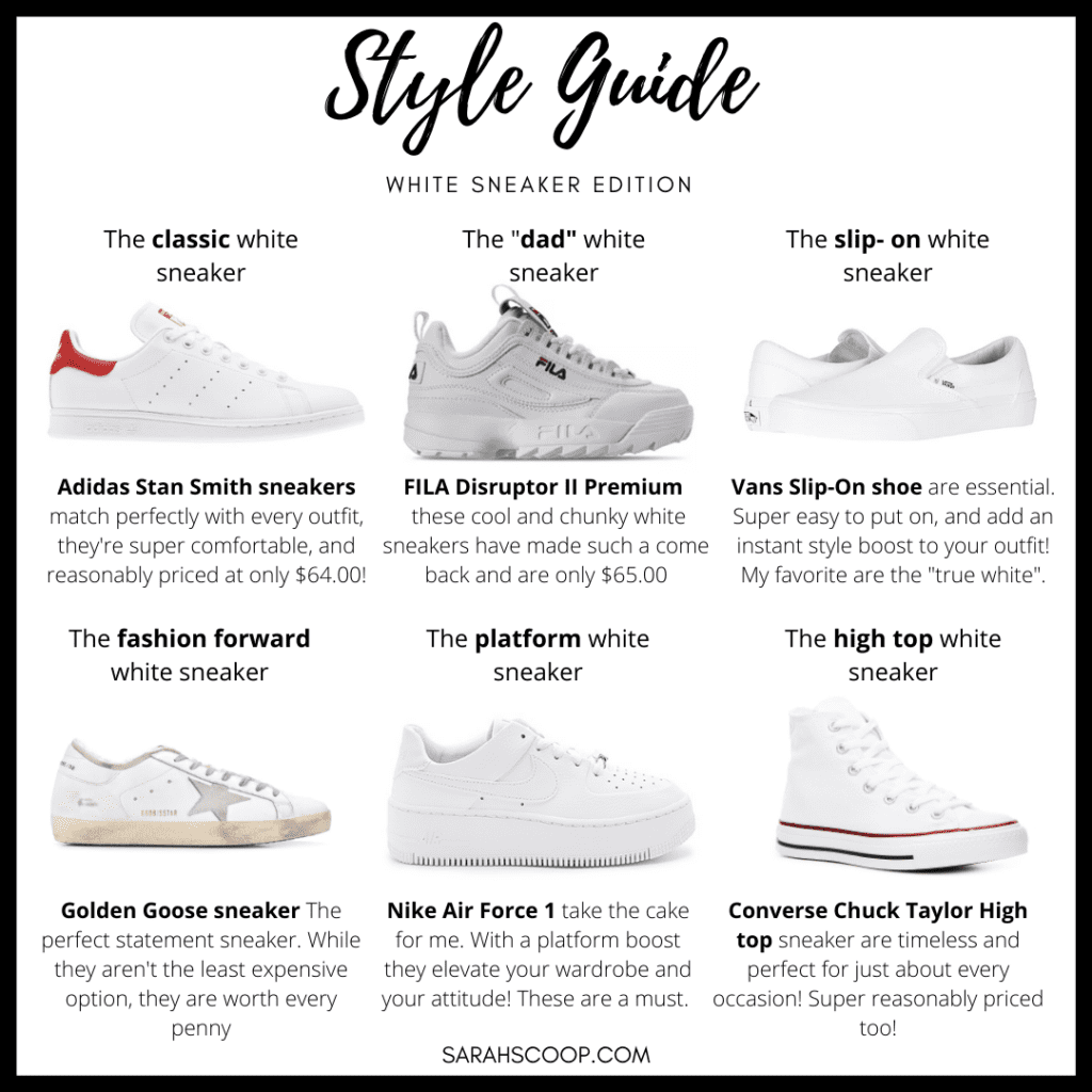 Sarah Scoop White Sneakers Style Guide