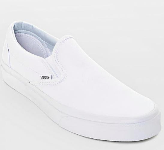 Vans white slip-ons