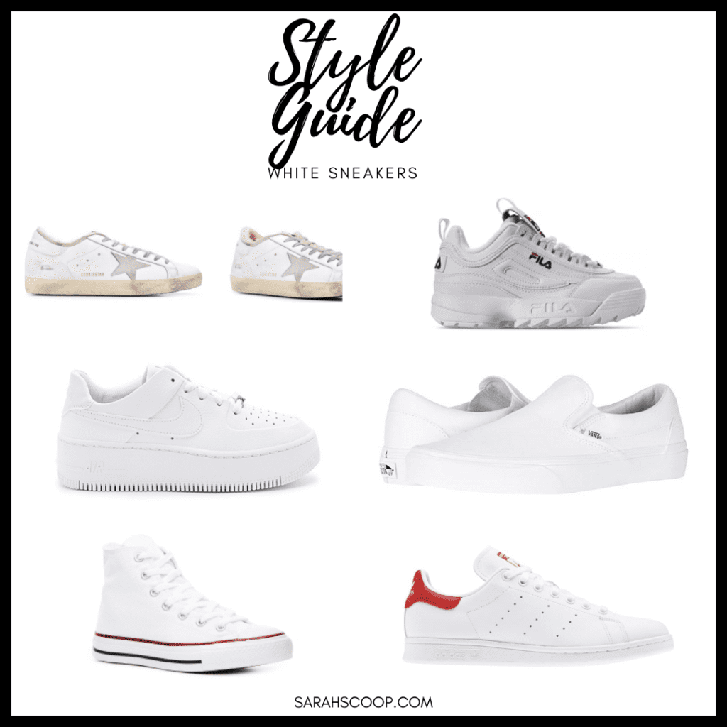 Style Guide graphic: Best White Sneakers