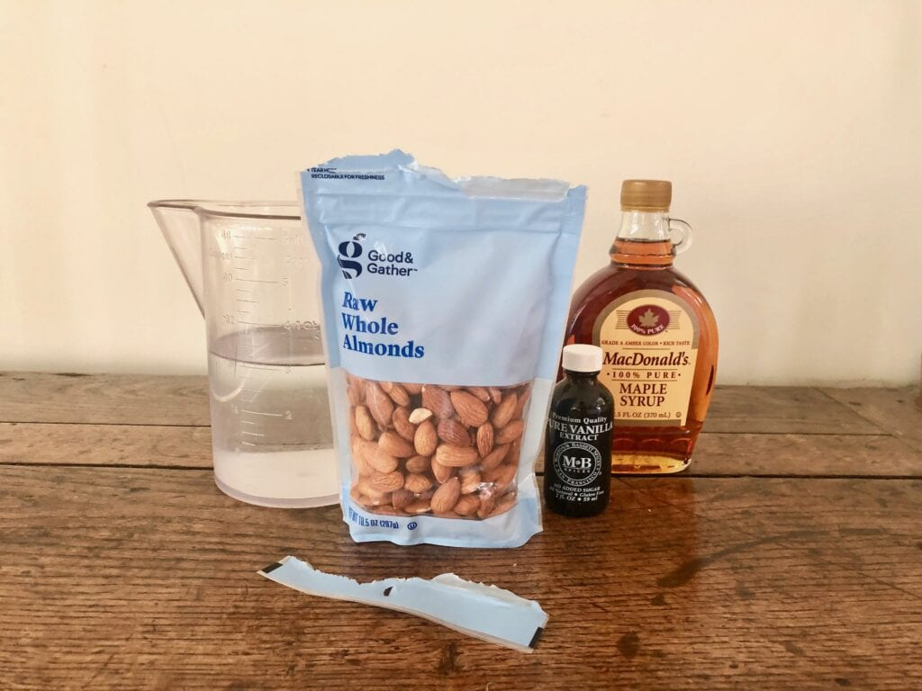 Water, almonds, vanilla, and maple syrup for milk