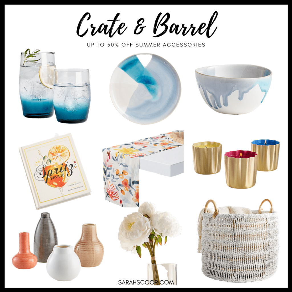 """Alt= """"Crate & Barrel has up to 50% off Summer Accessories"""""""