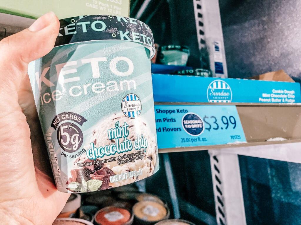 Mint chocolate chip keto ice cream