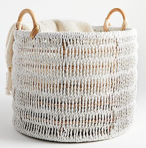 """Alt="""" Crate & Barrel Blanca Natural/White Rope Basket"""""""