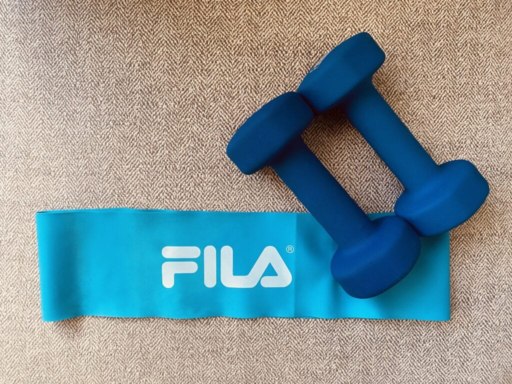 Resistance band and weights for at-home workouts