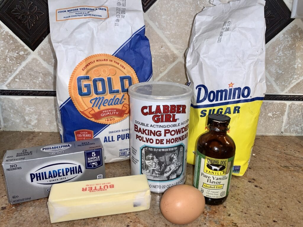Ingredients needed for cream cheese cookies