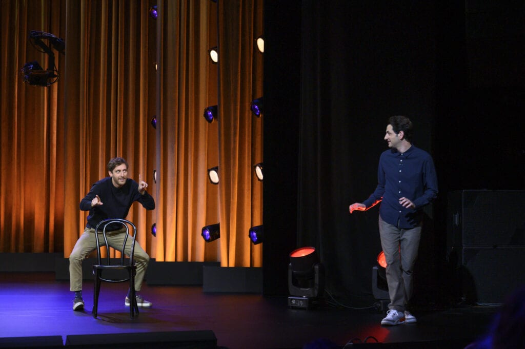 "Thomas Middleditch and Ben Schwartz in their first improv comedy special ""Middleditch and Schwartz"""