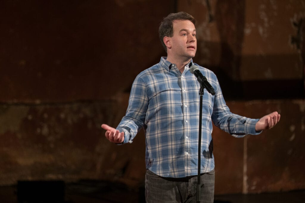 Mike Birbiglia in his 2017 comedy special, Thank God for Jokes.