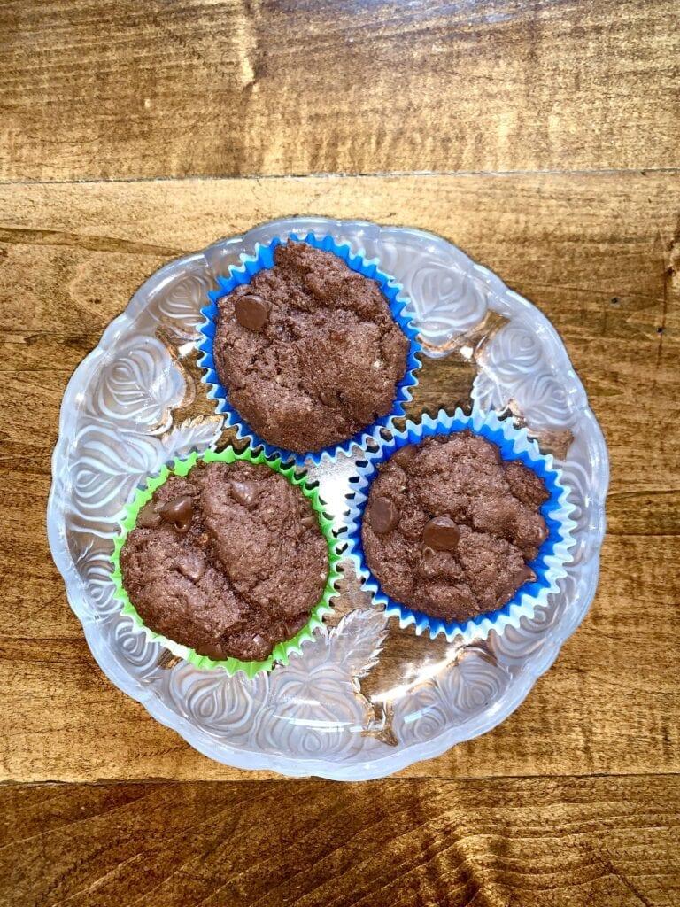 Three chocolate chip muffins