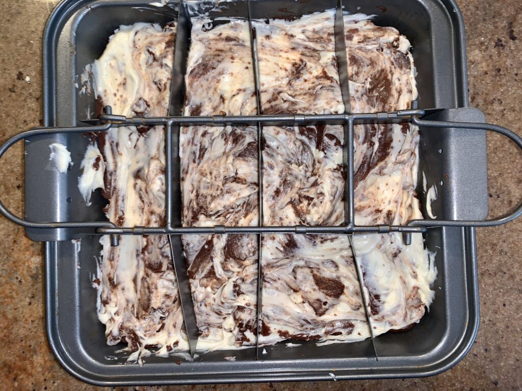 Cream cheese brownies right before baking