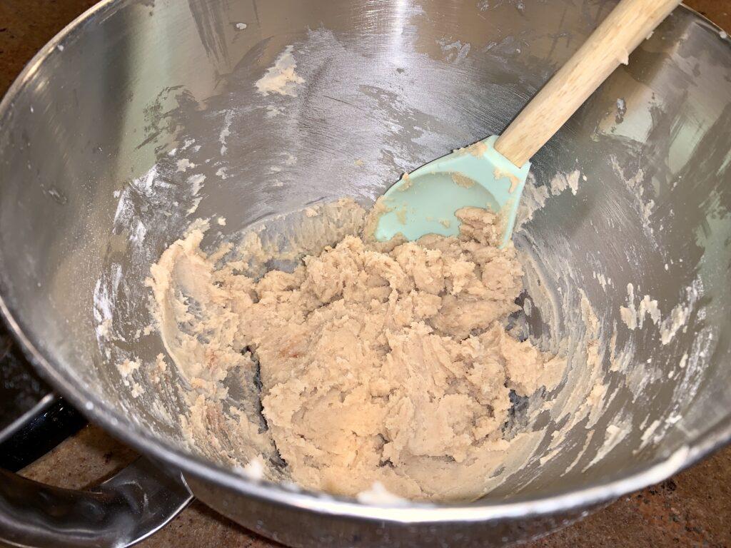 Bowl of chai shortbread cookie dough