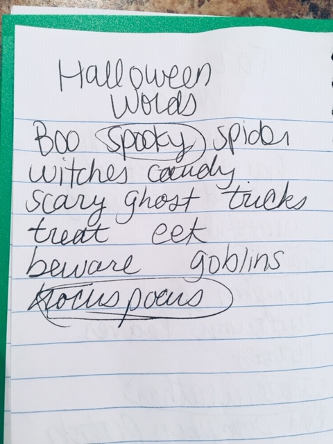 List of Halloween words: Boo, spooky, spider, witches, candy, scary, ghost, tricks, treat, eek, beware, goblin, hocus pocus