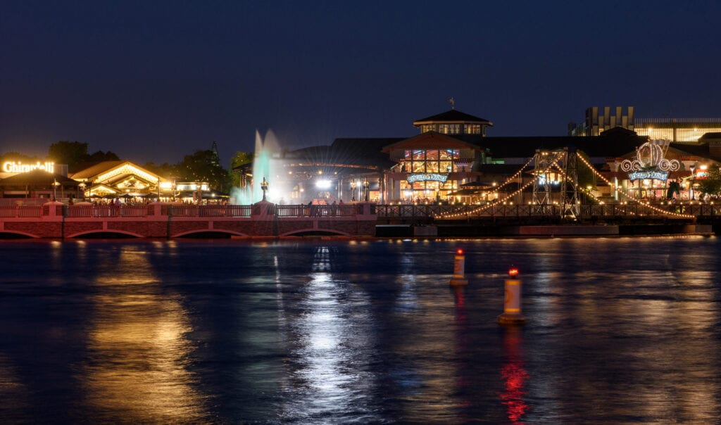 Disney Springs shopping complex lit up at night
