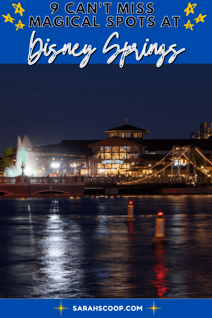Disney Springs shopping complex lit up at night with the title of the article