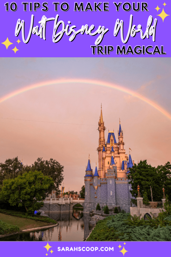 photo of Cinderella's castle at Walt Disney World with a rainbow over top and the article's title